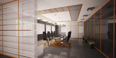 Modern boardroom interior 3d render